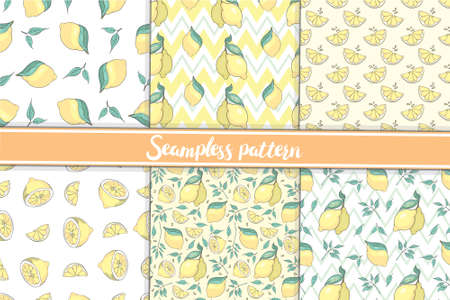 A set of seamless patterns is a collection of whole and sliced lemons with leaves. vector illustration on a white background.