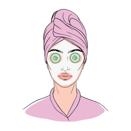 face mask sheet, skin care icon, beauty skin, woman's face linear sign on white background - editable vector illustration Vectores
