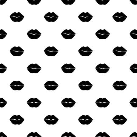 Black paint lips vector seamless pattern. Abstract girl's and woman's mouth. Monochrome wallpaper design, trendy textile print. Hand drawn ink illustration of lips.