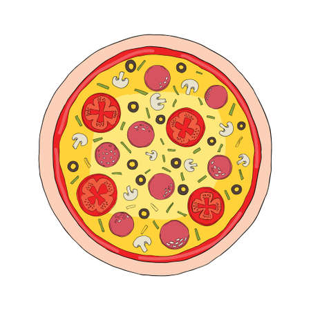 Pizza with melted cheese and pepperoni. Cartoon sticker in comic style with contour. Decoration for greeting cards, posters, patches, prints for clothes, emblems. Vector illustration.