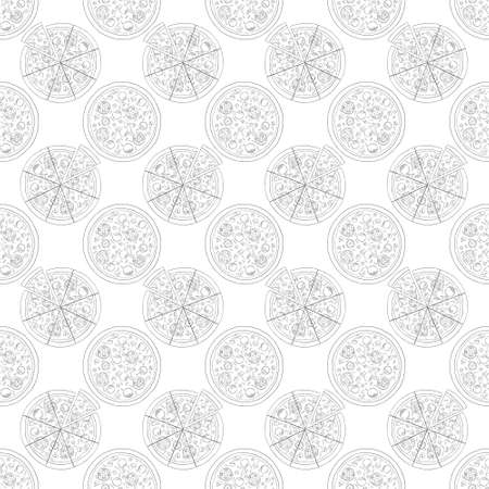 Trendy pizza pattern with hand drawn pizza slices. Cute vector black and white pizza pattern. Seamless monochrome pizza pattern. Vectores