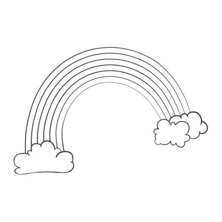 Vector doodle illustration. Line rainbow can be used for wallpapers, pattern fills, web page backgrounds, surface textures. Vectores