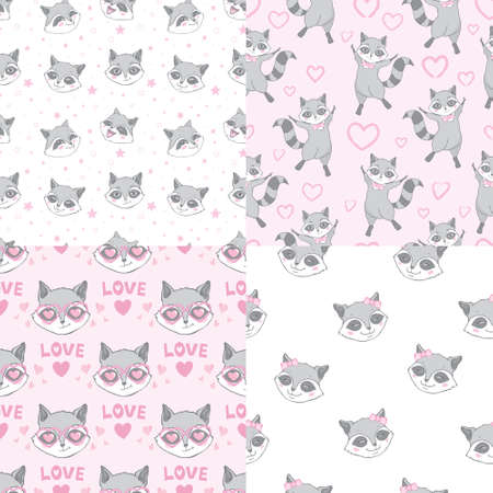 Set of Cute Super Raccoons Seamless Patterns and Poster. Childish Background with Little raccoon Heads. Vector Baby Funny Animals Drawing for Tee Print for Kids.