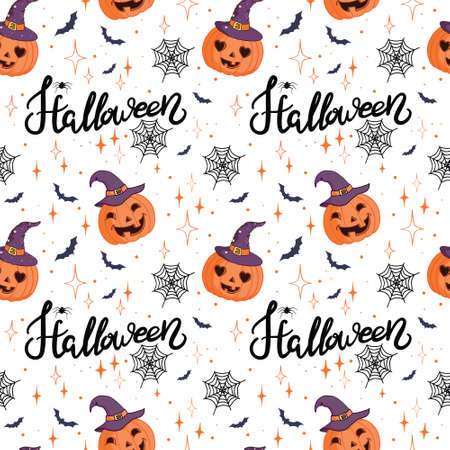 seamless pattern Halloween background with elements of hand-drawn pumpkin and halloween lettering. Vector illustration Vectores