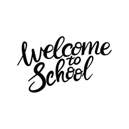 Lettering School with a brush for inscriptions on banners, posters, leaflets. Brush-drawn lettering on a white background. Vector, illustration.