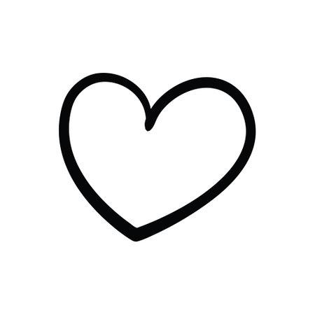 Vector illustration, hand drawn heart. Charcoal heart. Иллюстрация