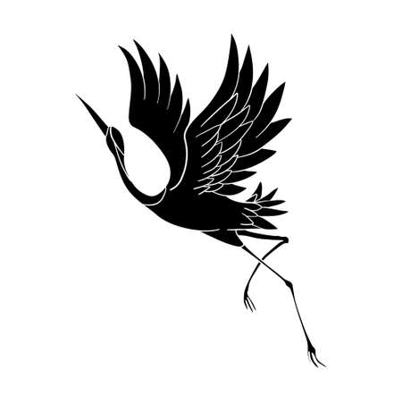 The silhouette of a flying crane on a white background. Vector illustration Иллюстрация