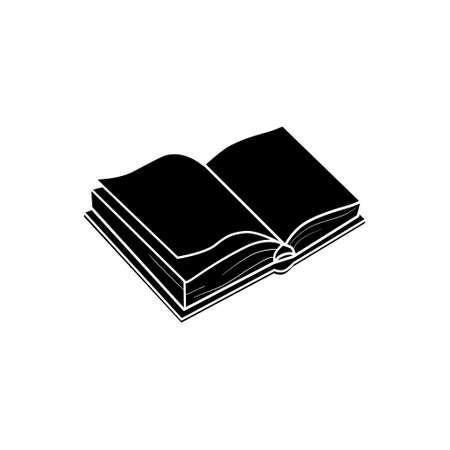 The book is a silhouette, isolated on a white background. A hand-drawn sketch painting in the artistic style of an antique engraving. Vector, illustration