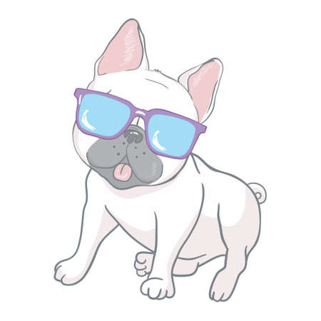 French bulldog with glasses. a dog with glasses on a white background. illustration vector cartoon