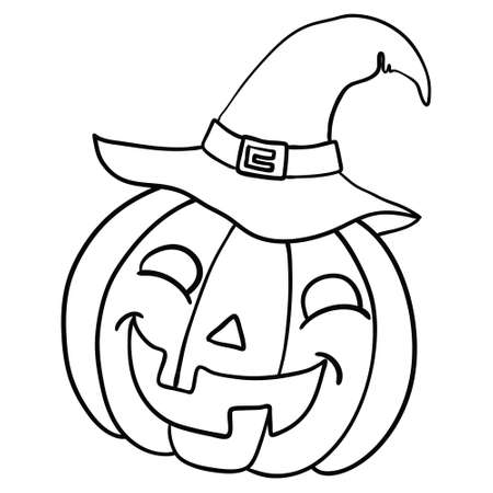 Halloween pumpkin. Vector concept in doodle and sketch style. Hand drawn illustration for printing on T-shirts, postcards. Icon and logo idea.