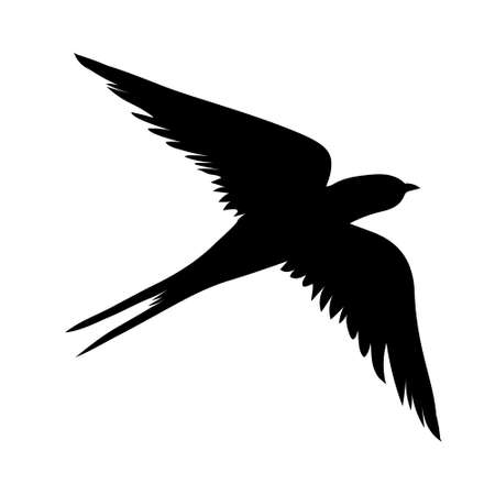 Swallow silhouette. Isolated swallow on white background. vector illustration Иллюстрация