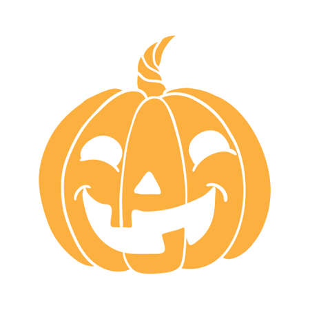 Halloween pumpkin icon. Vector. Autumn symbol. Flat design. Halloween scary pumpkin with smile, happy face. Orange squash silhouette isolated on white background. Cartoon colorful illustration.