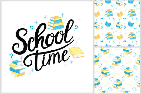 seamless pattern books vector in a flat style. Study and knowledge, library and education, science and literature.