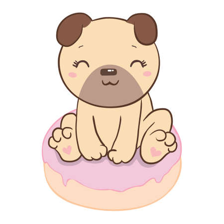 Pug with a donut flat style on a white background. Иллюстрация