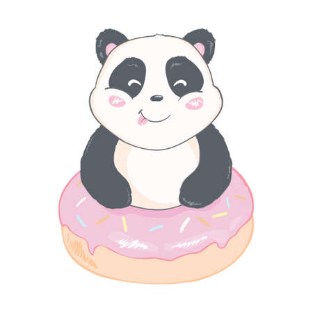 Cute Panda bear, vector illustration. Vector of animals. panda with a donut. Valentine's Day Greeting Card Иллюстрация