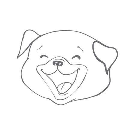 Dog sketch a hand drawn happy fashionable pug. Vector illustration
