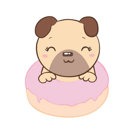 Pug with a donut flat style on a white background. Vector, il