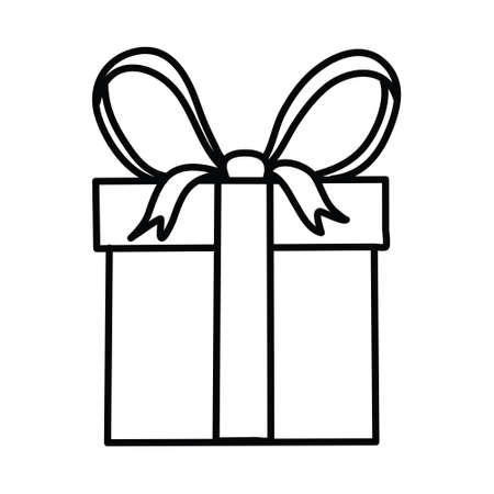 Gift box icon in doodle sketch lines. Vector illustration