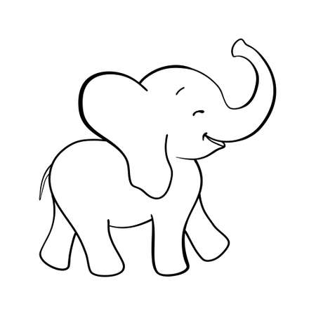 Sketch cartoon elephant. Doodle illustration in vector. Cute vector elephant. Иллюстрация