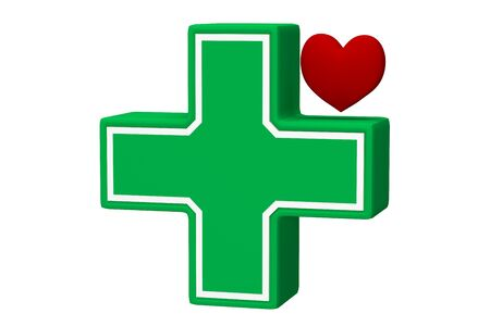 Health care icon. Green cross and red heart isolated on a white. 3d rendering
