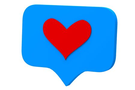 Like red heart icon on a blue pin isolated on white background. Social media Like symbol. 3d rendering