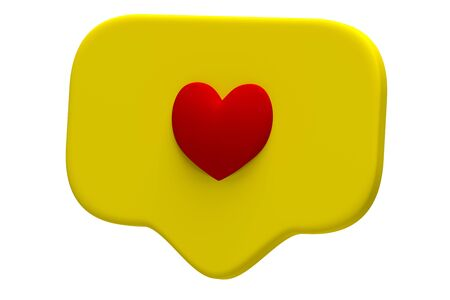 Like red heart icon on a yellow pin isolated on white background. Social media Like symbol. 3d rendering Stock Photo