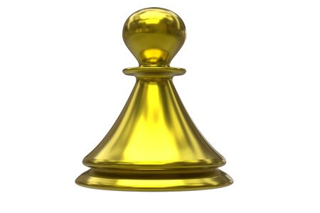 Single yellow classic chess pawn isolated on white background. 3D rendering.