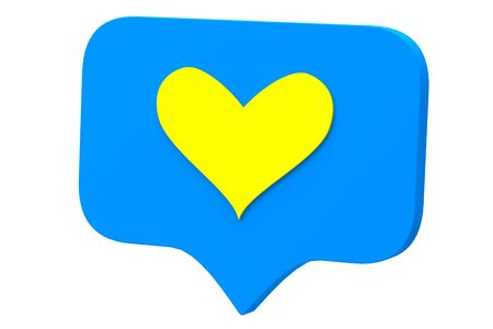 Like yellow heart icon on a blue pin isolated on white background. Social media Like symbol. 3d rendering