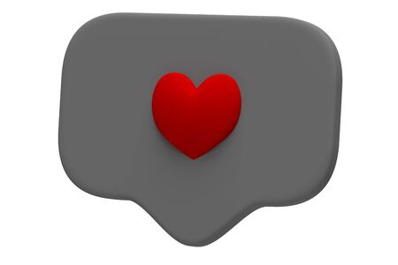 Like red heart icon on a grey pin isolated on white background. Social media Like symbol. 3d rendering Banco de Imagens