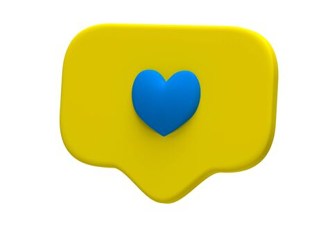 Like blue heart icon on a yellow pin isolated on white background. Social media Like symbol. 3d rendering