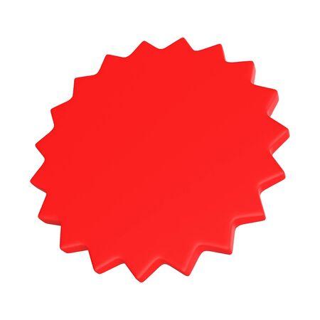 Representación 3D estrella roja - concepto de insignia para diploma.