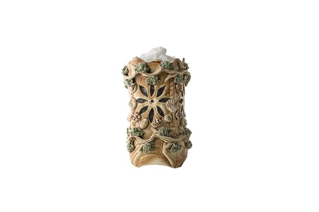 salt lamp: Himalayan salt lamp isolated on white background Stock Photo