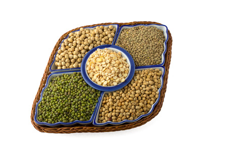 ingedient: variety of legumes on white background