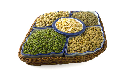 variety of legumes on white background