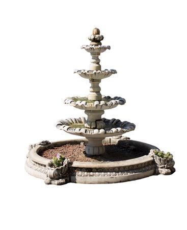 Vintage courtyard fountain isolated on white