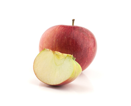 lobule: single red apple with lobule, isolated on white background