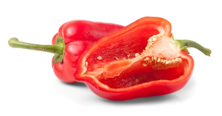 bell peper: sweet red pepper and half cut isolated on white