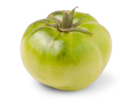 Green tomatoes on white background Stock Photo