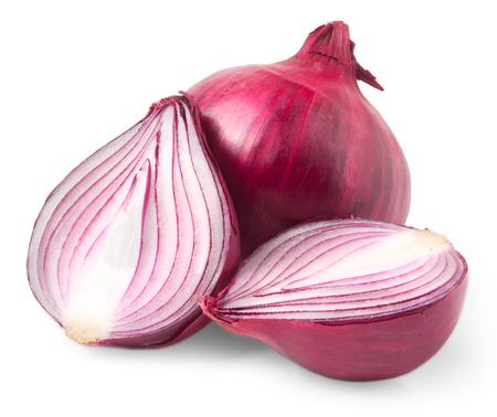 cebolla roja: bulbo de la cebolla roja aislada en el fondo blanco