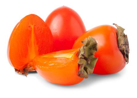 tacky: Fresh Persimmon fruit isolated on white background Stock Photo