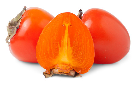 two and a half: Two Whole And One Half Persimmons Isolated On White Background