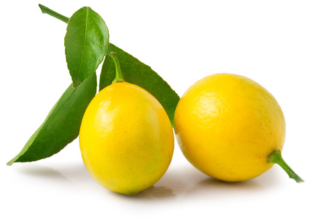 lemon: fresh lemons with green leaves isolated on white background.