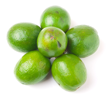 feijoa: Group feijoa on white background. Stock Photo