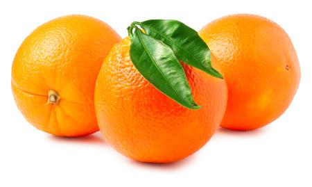 three oranges on a white background.