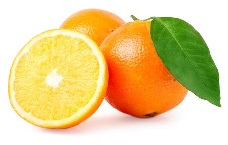 sweet segments: Two orange and slice isolated on white background.