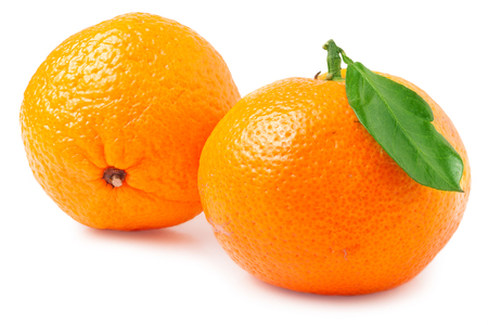 Two tangerines with leaf on a white background.
