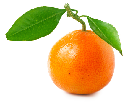 A tangerine with leaves on a white background.