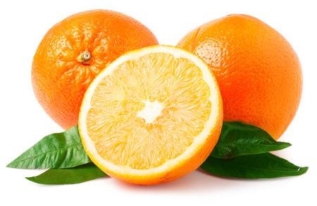 Naranjas aisladas en blanco. Foto de archivo