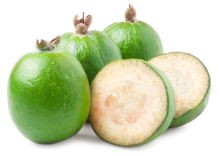 feijoa: Tropical fruit feijoa (Acca sellowiana) isolated on white background.