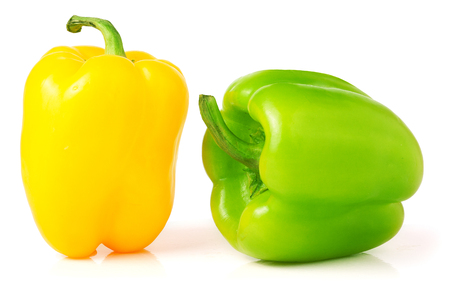 bell peper: Yellow and green bell peppers isolated on white background.